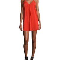 Alice + Olivia Fierra Crepe Y-Back Tank Dress, Bright Red
