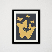 "Gold and Charcoal Grey Butterflies. Minimalist. Modern. Animals. Butterfly. Living Room. Gift Idea. Fly Away. 8.5x11"" Prints"