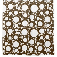 Brown Abstract Polka Dot Geometric Modern Art Shower Curtain
