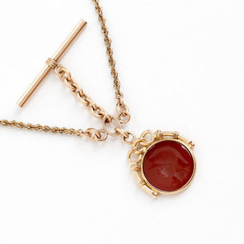 Antique Rosy Yellow Gold Filled Pocket Watch Chain & Carnelian Intaglio Soldier Warrior Fob - 1900s Victorian Swivel Clip, TBar Jewelry HFB