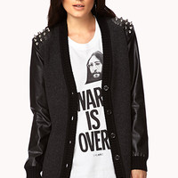 Spiked Faux Leather-Trimmed Cardigan