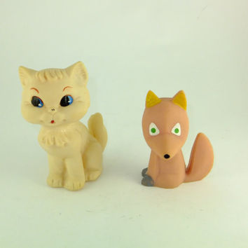 Vintage Russian Fox & Cat Toy, Rubber Toy, Baby Bath Toy,Cat Toy,Fox Toy, CCCP, Soviet Fox Rubber Toy, Soviet Cat Rubber Toy