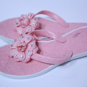 New women fashion flowers pink color jelly flip flop slippers sandals-size 8,9