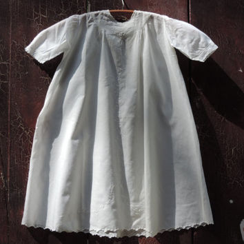 Antique Christening Gown Baptismal Gown Vintage Hand Embroidered Cotton Infants Gown Intricate Ornate Victorian Gown
