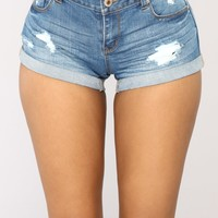 Summer Forever Denim Shorts - Medium Blue Wash
