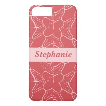 Red and Pink Grunge Tile Pattern Personalized name iPhone 7 Plus Case