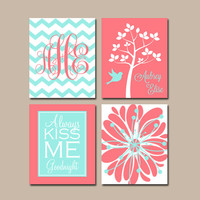 CORAL AQUA Nursery Wall Art CANVAS or Prints Girl Nursery Custom Chevron Monogram Name Kiss Me Goodnight Tree Bird Set of 4 Baby Crib Decor