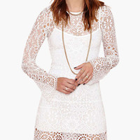 White Bell Sleeve Scalloped Floral Lace Mini Dress