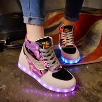 Women Led Shoes Glowing Flats For Girls Casual Walking Party Light Up Luminous High-top USB Fashion Sneakers 2016 Summer/spring