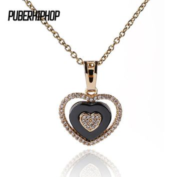 585 Rose Gold Three Concentric Love Heart Cubic Zirconia Necklaces & Pendants Black Ceramic Necklace Wedding Jewelry For Women