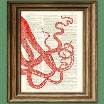 Sea Monster Art Print Red Tentacles llustration by collageOrama