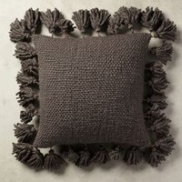 "Knitted Tassel Pillow by Anthropologie in Dark Grey Size: 18"" X 18"" Pillows"