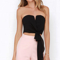 Be My Guest Black Strapless Crop Top