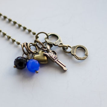 Police Officer Wife Necklace - Handcuff Charm And Revolver - Blue And Black - Mom Of Police Officer - Girlfriend Necklace - Gift For Wife