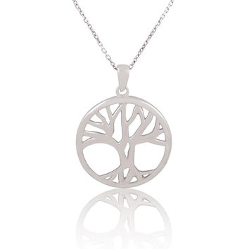 """Rhodium Plated 925 Sterling Silver Round Open Circle """"Tree of Life"""" Pendant Necklace, 18"""""""