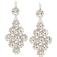 Cezanne Kite Shaped Chandelier Earrings - Silver