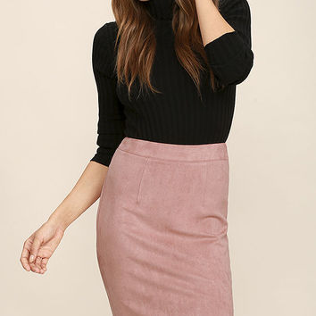 Superpower Blush Suede Pencil Skirt