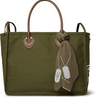 KAPITAL - Leather-Trimmed Cotton-Canvas Holdall