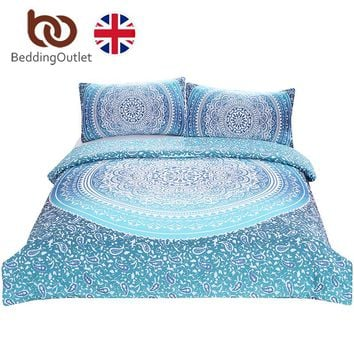 BeddingOutlet Luxury Bohemia Bedding Set Crystal Arrays Duvet Cover with Pillow Cases Blue Printed Boho Quilt Cover Set UK SIZE