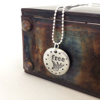 inspiration necklace free spirit - hand stamped jewelry pendant necklace - bird necklace