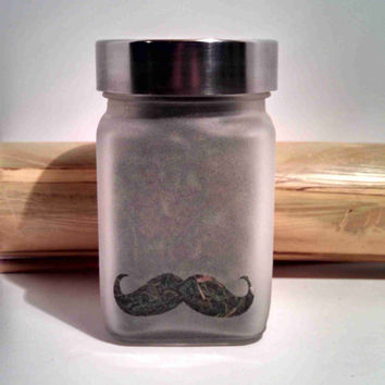 "Retro My ""Stache"" Mustache Stash Jar- Free UPGRADE to Priority Mail within the US"
