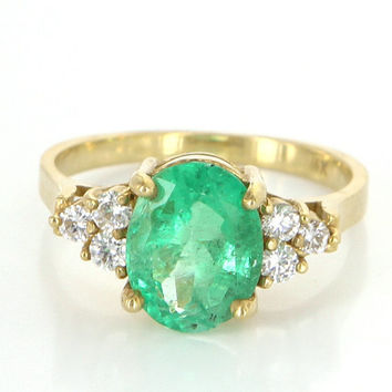 Vintage 14 Karat Yellow Gold Diamond Natural Emerald Cocktail Right Hand Ring Estate Jewelry