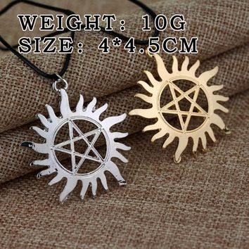 MQCHUN Fashion TV Jewelry Supernatural Dean Sam Pentacle Pentagram Tattoo Pendant Necklace With Rope Chain For Men Women