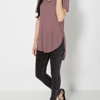 Burgundy Striped Split Seam Tunic Tee | Short Sleeve | rue21