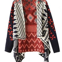 ZLYC Multicolored Irregular Hem Geometric Pattern Knit Cardigan (Black)
