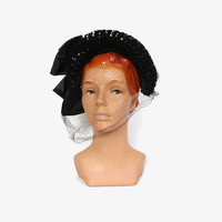 Vintage 40s Sequin Veil HAT / 1940s Black Sequin Brim Fitted half Hat with Veil
