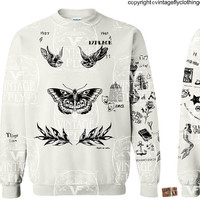 HARRY STYLES SWEATSHIRT - Tattoo Sweatshirt - One Direction - Harry -  Latest Updated - 1d - In White, Black, and Grey s, m, lg, xl, 2x, 3x