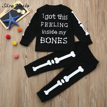 Newborn Toddler Infant Kid Baby Boy Girl Letter Tops+Bones Pants Outfit Clothes Set autumn winter long sleeve suit child costume