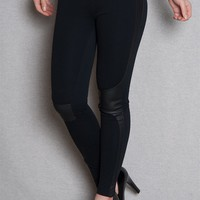 Cello Jeans Jeggings With Faux Leather Panels - Black