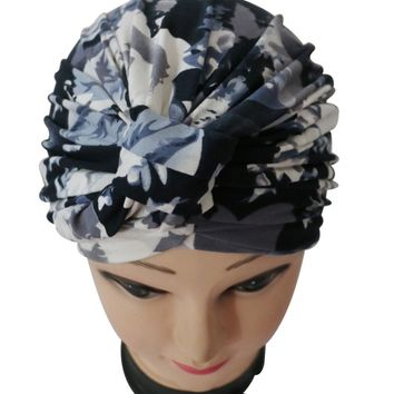 Free Shipping 2017 New Vintage Black Gray Floral Print Turban Hat For Women