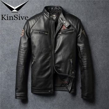Vintage Motorcycle Jacket Men Leather Jacket 100% Real Cow Leather Jacket Winter Mens Biker Coat Moto Genuine Leather Jacket 4XL