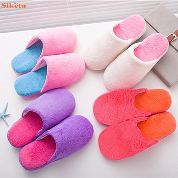 High quality New Winter Women Warm Soft Plush Antiskid Indoor Couple Home Slippers Oct12