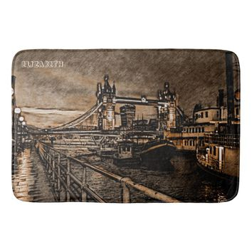 Vintage London Tower Bridge In Rainy Day Drawing Bath Mat