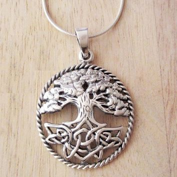 10pcs Tree of Life Necklace Pendant- Celtic Knot Roots Necklace 28mm Round Natural Tree Jewelry CT156