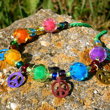 Peace Anklet / Bracelet / Necklace - Convertible Rainbow Crochet Jewelry With Recycled And Vintage Beads