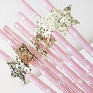 Party straws - Twinkle Twinkle Little Star party - Drinking Straws - Glitter party straws - Pink princess party - Star Party Decor -