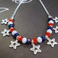 Red white and blue crystals and Silver Chain Necklace July 4th Patriot