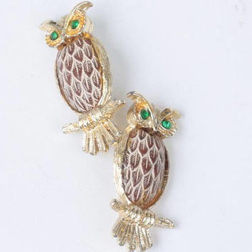 Pair of Owl Pins Brown Simulated Feathered Chest Green Rhinestone Eyes Smaller Size
