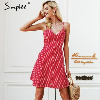 Simplee Strap button summer dress women Plaid v neck streetwear casual dress female Spring red short dress 2018 robe femme