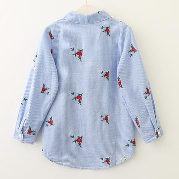 Girls Shirts New Spring Baby Girls Blouse Red Flowers Embroidery Strip Kids Shirts Children Clothing
