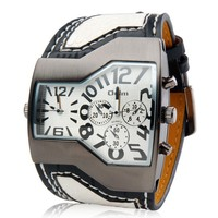 Dual Quartz Movement Analog Sporty Watch with Faux Leather Strap