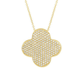 0.63ct 14k Yellow Gold Diamond Pave Clover Necklace