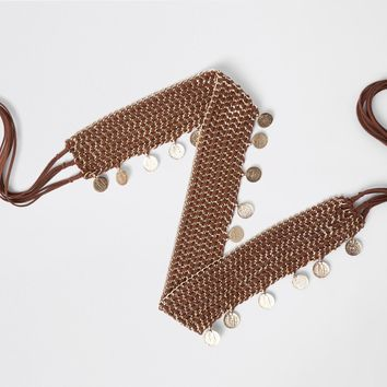 Brown woven coin chain tie up belt - Belts - Accessories - women