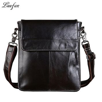Vintage wax leather shoulder bag genuine leather messenger bag genuine leather Men's ipad bags or book bag