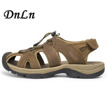Mens Sandals Genuine Leather Summer 2017 New Beach Men Casual Shoes Outdoor Sandals Plus Size 38-47 D30