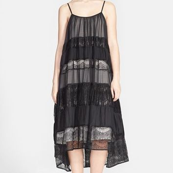 Women's Alice + Olivia 'Dejas' Pleated Lace Inset Trapeze Dress